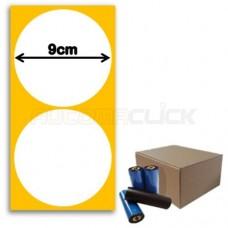 Etiquetas de Papel Couche, 90mm x 90mm (Redonda) + Ribbon Cera 450 Metros
